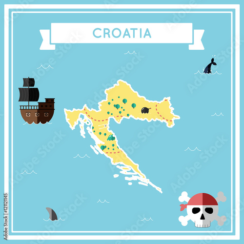 Fotografie, Obraz Flat treasure map of Croatia