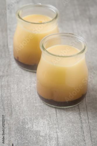 In de dag Milkshake Milk Caramel dessert in a glass jar. Grey wood background