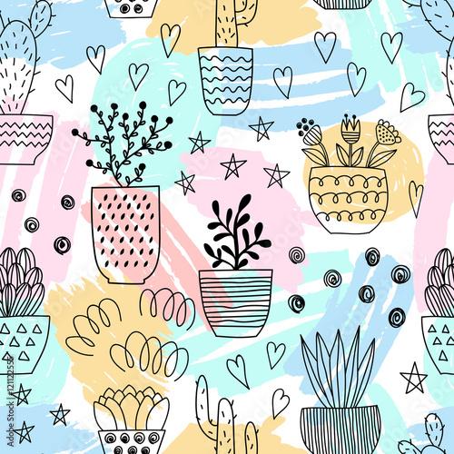 bezszwowy-wzor-z-kolorowymi-slicznymi-elementami-rosliny-doniczkowe-styl-kreskowki-ilustracji-wektorowych