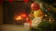 Closeup image of beautiful decorated Christmas tree in front of burning fireplace at house