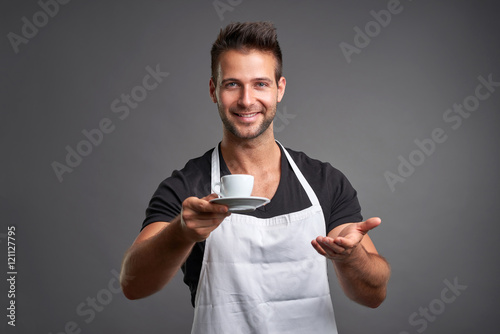 Fotografie, Obraz  A young barista man