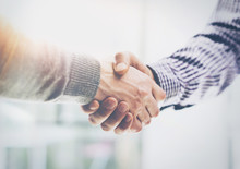 Business Partnership Meeting.Photo Two Businessmans Hands Handshake Process.Successful Businessmen Handshaking After Great Deal.Horizontal, Blurred Background.