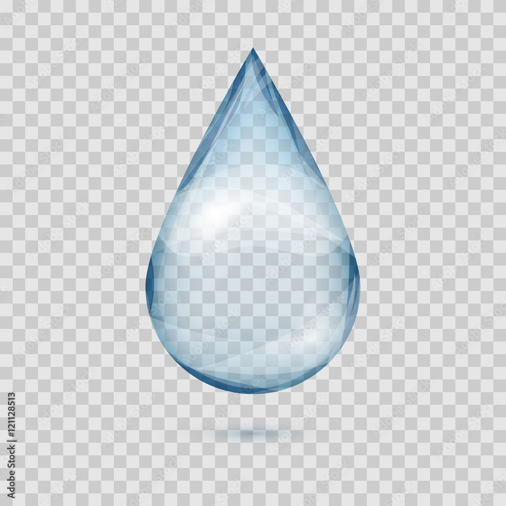 Fototapety, obrazy: Falling transparent water drop vector isolated