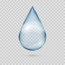 Falling Transparent Water Drop Vector Isolated