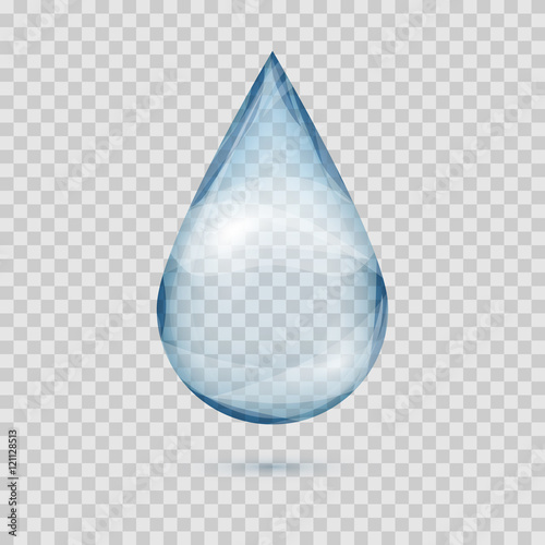 Falling transparent water drop vector isolated Canvas