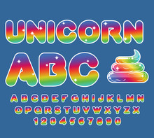 Unicorn ABC. Rainbow Font. Mul...