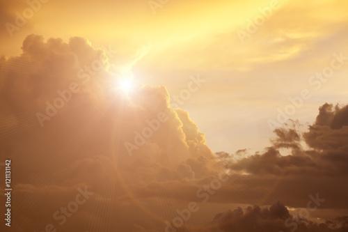 Obraz na plátně  golden sunset with clouds