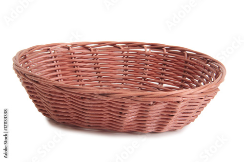 Fotografie, Obraz  Retro wicker basket on white background