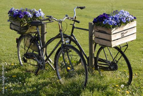Nature 2 zwarte fietsen met kratten bloemen