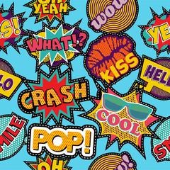 Tapeta Pop art cartoon patch icon seamless pattern