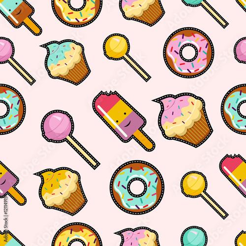 Cotton fabric Pink candy stitch patch style seamless background
