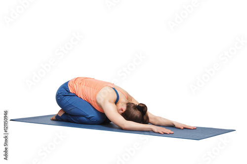 Fotografie, Obraz  Beautiful sporty fit yogi girl practices yoga asana balasana