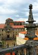 Monasterio de San Martin Pinario desde las cubiertas de la catedral de Santiago de Compostela, Galicia, España