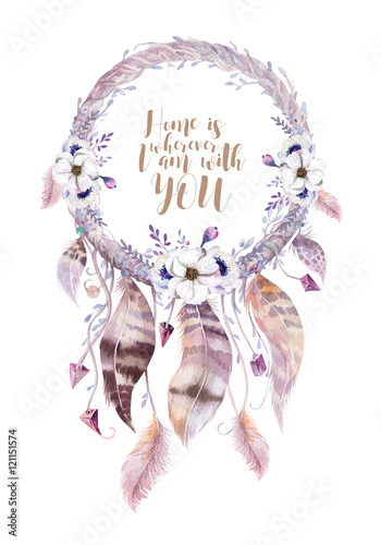 Photo  Isolated Watercolor decoration bohemian dreamcatcher. Boho feath