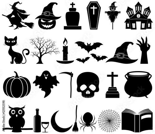 Spoed Fotobehang Halloween Halloween icons set collection