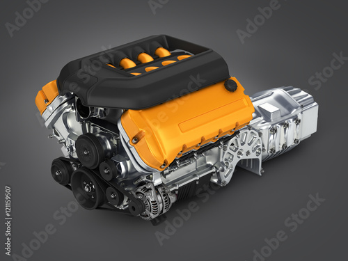 Fotomural Automotive engine gearbox assembly on gradient background 3d ill