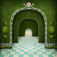 Fantasy Background green maze with an arch and tree