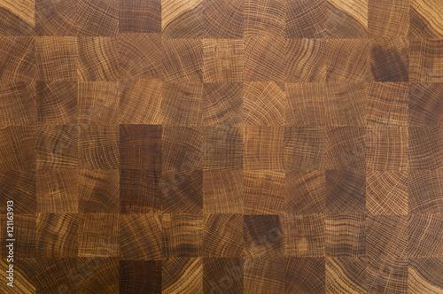 Canvas Print Oak wood butcher's end grain chopping block board