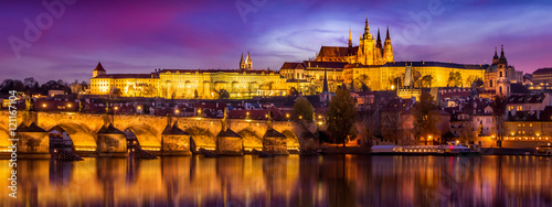 Poster Praag Prague in sunset