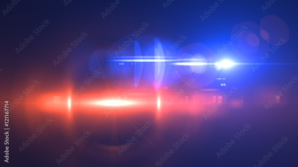 Fototapety, obrazy: Beautiful light flares. Glowing streaks on dark background. Police light flares