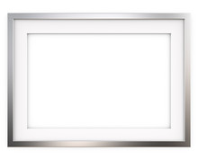 Picture Frame. 3D Render Of Classic Metal Frame With White Passe-partout. Blank For Copy Space.