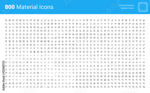Fototapeta Material design pixel perfect icons set