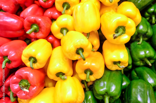 Fototapeta Yellow, red and green bell pepper obraz