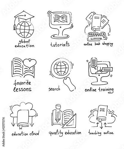 sketch icons distance education and online learning concept buy