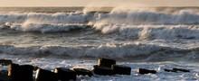 Waves Crashing On The Jetty