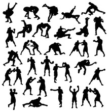 Activities Silhouette Sports Wrestling And Boxing, Art Vector Design