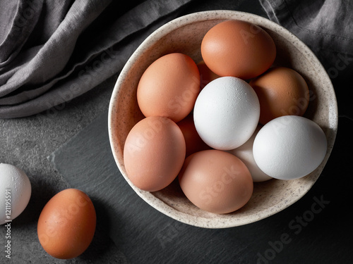 Photo  bowl of various eggs