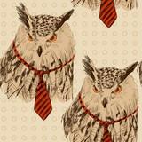 Szkic wektor sowa w krawat. Wzór - 121197102