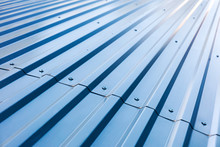 Blue Corrugated Metal Roof Wit...