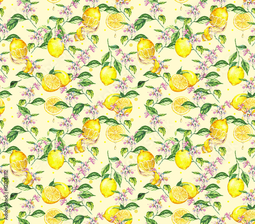 Hand-drawn watercolor seamless pattern with yellow lemons