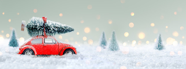 Red Car Carrying A Christmas Tree in The Snowy Forest