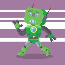 Green Robot Running Colorful
