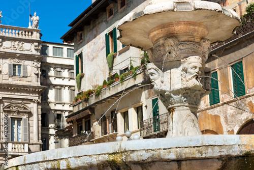 Fotografie, Obraz  Fountain of Madonna Verona with heads of kings in Piazza delle Erbe, Verona, Ven