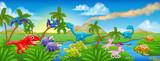 Fototapeta Dino - Cute Cartoon Dinosaur Scene Landscape