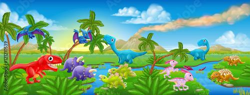 Tuinposter Dinosaurs Cute Cartoon Dinosaur Scene Landscape