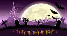 Halloween Background. Monsters Bats On Old Cemetery Backdrop On Scary Castle, Moon And Graves. Concept For Banner, Poster, Flyer, Cards Or Invites On Party. Cartoon Style. Vector Illustration