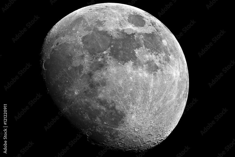 Fototapety, obrazy: Moon in growing phase (waxing gibbous). Taken by telescope. Awesome details, it was cared by me in processing mode.