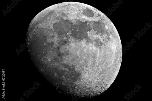 Moon in growing phase (waxing gibbous). Taken by telescope. Awesome details, it was cared by me in processing mode.
