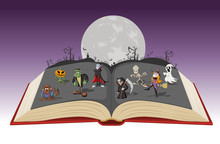 Open Book With Full Moon Over ...