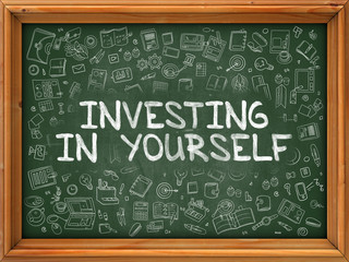 Green Chalkboard with Hand Drawn Investing in Yourself.