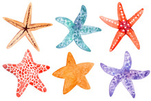 Set Of Watecolor Starfish Clipart