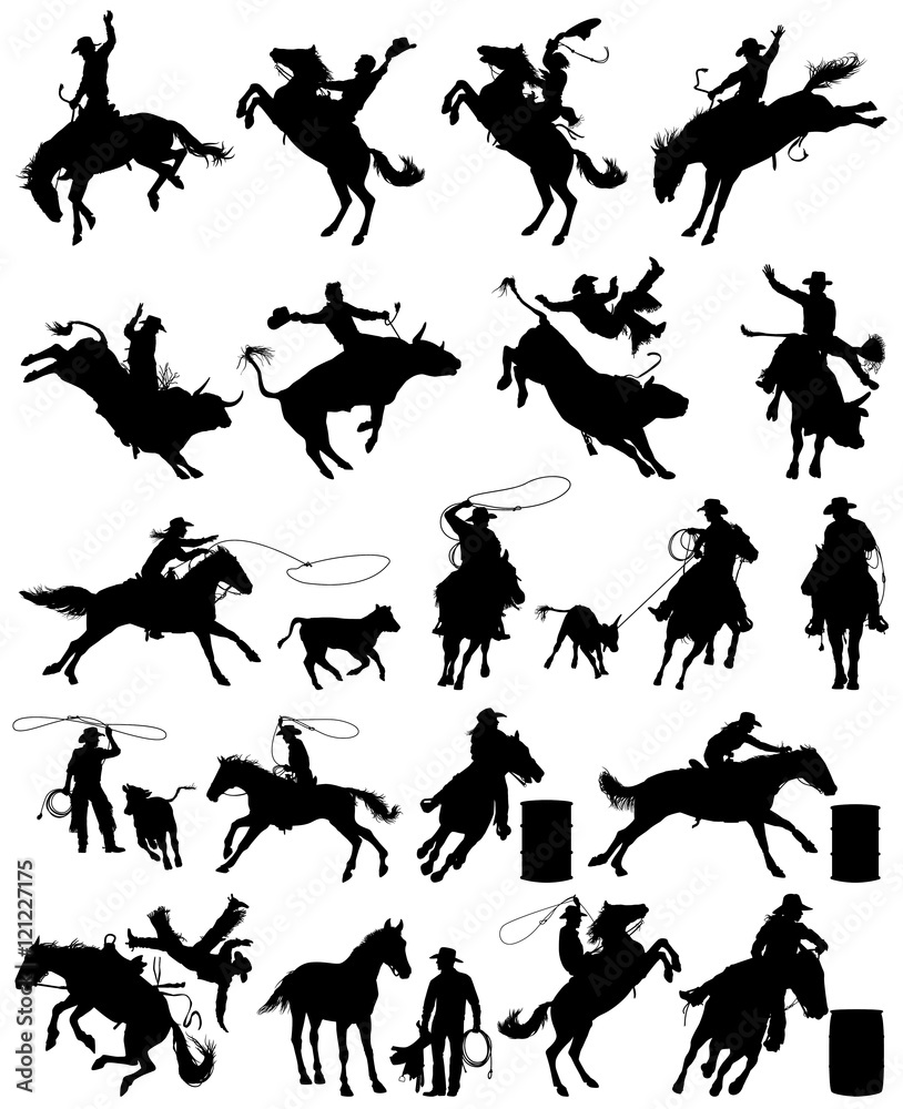 Fototapety, obrazy: Cowboy and cowgirl rodeo vector silhouettes collection