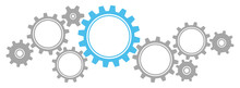Gears Border Graphics Grey/Blue