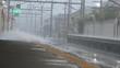 ゲリラ豪雨の駅のホーム・嵯峨野線 並河駅