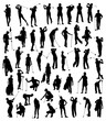 Golf Player Silhouettes Set, art vector design