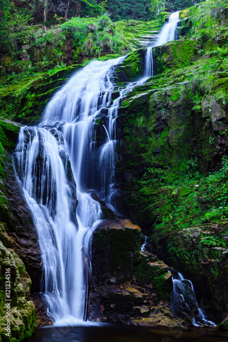 Fototapeta premium Kamienczyk Waterfall in Karkonosze National Park in Poland Sudety Mountains near Szklarska Poreba town.